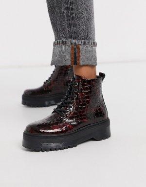 Кожаные ботинки винного цвета на массивной подошве со шнуровкой -Красный Bronx