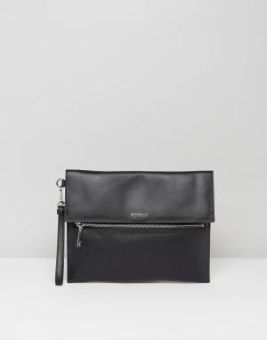 Кожаный клатч Modalu. Цвет: черный
