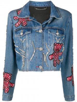 Джинсовая куртка с принтом Teddy Bear Philipp Plein. Цвет: синий
