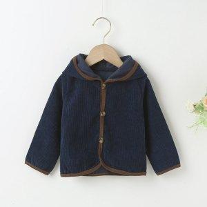 Контрастная отделка Повседневный пальто для малышей SHEIN. Цвет: темно-синий