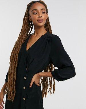 Черное платье миди с запахом Toryn-Синий Monki