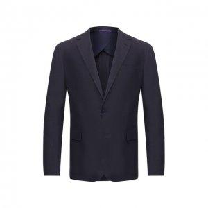 Пиджак из шелка и льна Ralph Lauren. Цвет: синий