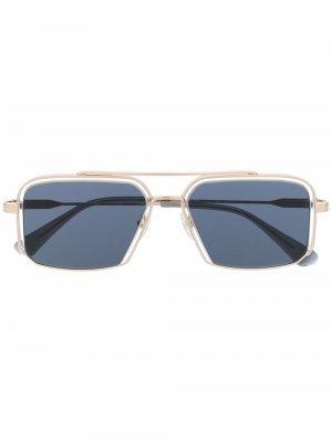 Солнцезащитные очки-авиаторы в квадратной оправе GIGI STUDIOS. Цвет: золотистый