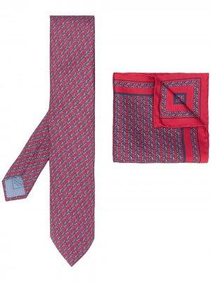 Комплект из платка и галстука с геометричным принтом Brioni. Цвет: красный