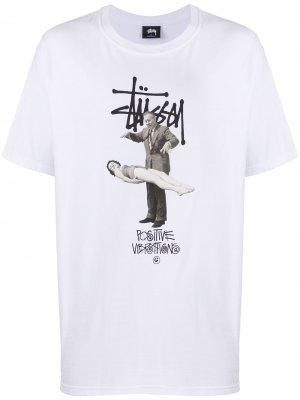 Graphic print T-shirt Stussy. Цвет: белый