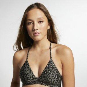 Женский топ с леопардовым принтом для серфинга Hurley Quick Dry Nike. Цвет: зеленый