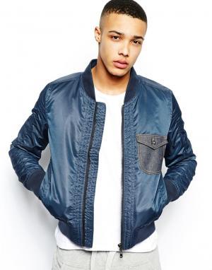 Куртка-пилот с джинсовым карманом Evisu Genes. Цвет: темно-синий