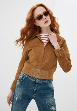 Куртка кожаная Trussardi. Цвет: коричневый