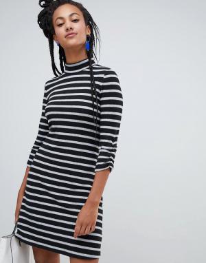 Черно-белое платье в полоску с высоким воротником -Мульти Esprit