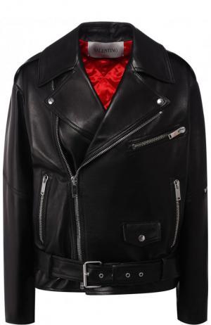 Кожаная куртка с косой молнией и поясом Valentino. Цвет: черный