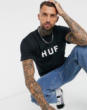 Черная футболка с логотипом Essentials OG-Черный цвет HUF