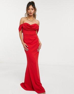 Красное платье макси с открытыми плечами и сборками -Красный Goddiva