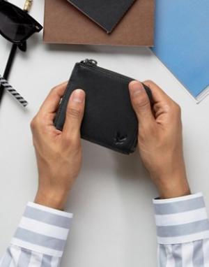 Кожаный бумажник с молнией Lyle & Scott. Цвет: черный
