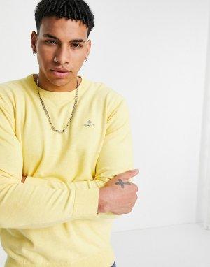 Желтый меланжевый классический джемпер из хлопкового трикотажа с маленьким логотипом Gant