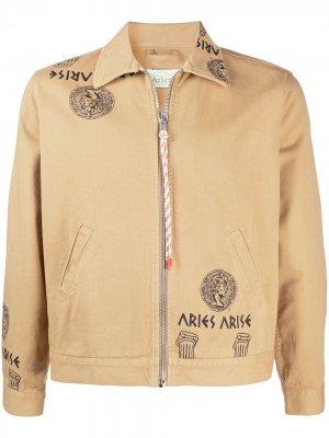 Джинсовая куртка на молнии с принтом Aries. Цвет: нейтральные цвета
