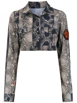 Cropped printed jacket Amir Slama. Цвет: коричневый