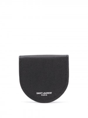 Кошелек для монет с логотипом Saint Laurent. Цвет: черный