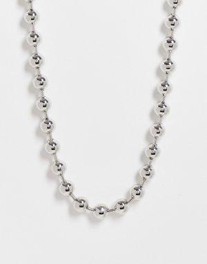 Серебристое короткое ожерелье-цепочка средней толщины 8 мм со звеньями в виде шариков -Серебристый ASOS DESIGN