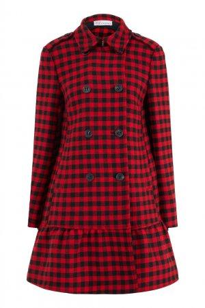 Приталенное пальто с воланом Red Valentino. Цвет: красный