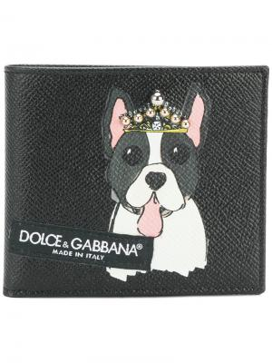 Dog print fold out wallet Dolce & Gabbana. Цвет: чёрный