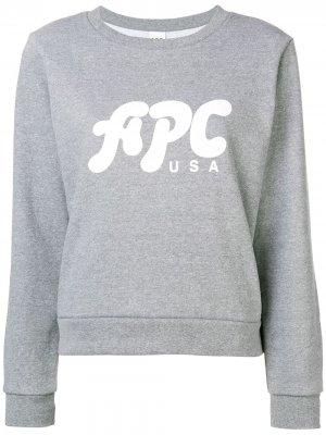 Logo print jersey sweater A.P.C.. Цвет: серый