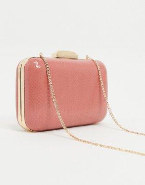 Лакированная сумка с эффектом кожи рептилий -Розовый Dune
