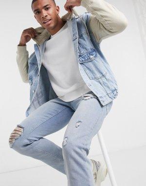 Голубая джинсовая куртка с трикотажным капюшоном -Синий Bershka