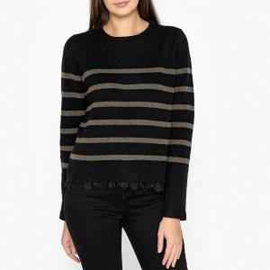 Пуловер-тельняшка с круглым вырезом из тонкого трикотажа и кружева IKKS. Цвет: черный/ хаки