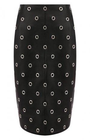 Кожаная юбка Alaia. Цвет: черный