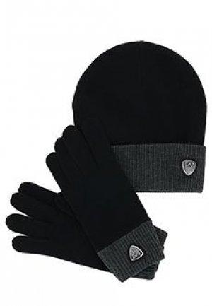 Комплект перчатки шапка EA7. Цвет: черный