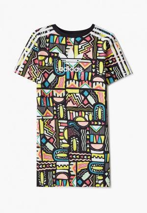 Платье adidas Originals. Цвет: разноцветный