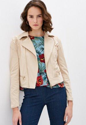 Куртка кожаная Liu Jo White Label. Цвет: бежевый