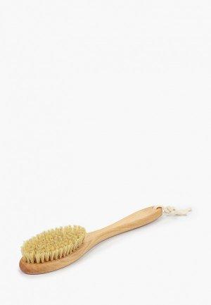 Щетка для тела Hatparad сухого массажа средней жесткости, из щетины кабана. Цвет: бежевый