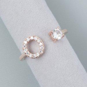 Открытое кольцо со стразами буква SHEIN. Цвет: розовое золото