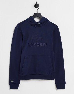 Флисовый свитшот с карманом «кенгуру», капюшоном и вышитым логотипом -Темно-синий Lacoste