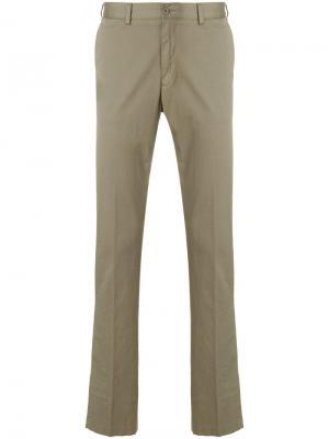 Классические приталенные брюки Paul & Shark. Цвет: зеленый