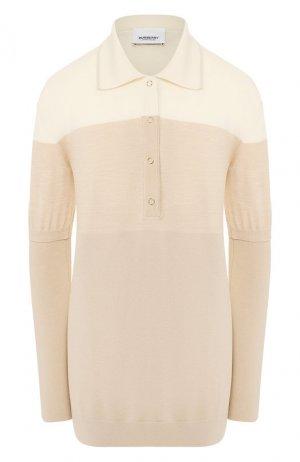 Шерстяной пуловер Burberry. Цвет: светло-бежевый