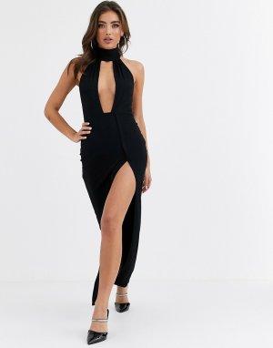 Вечернее платье макси с глубоким вырезом -Черный ASOS DESIGN