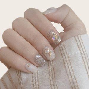 24шт Блестящие накладные ногти и 1 лист лента SHEIN. Цвет: многоцветный