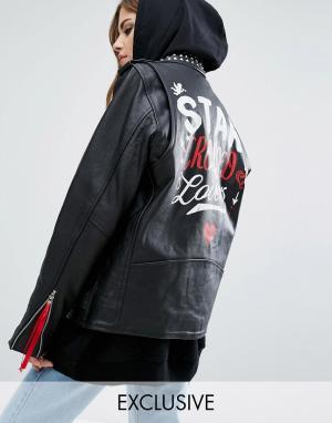 Кожаная байкерская куртка X Romeo And Juliet Reclaimed Vintage. Цвет: черный