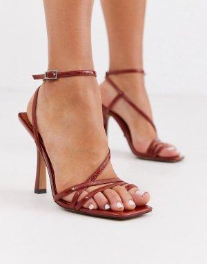 Красные босоножки с квадратным носком на каблуке -Красный Topshop