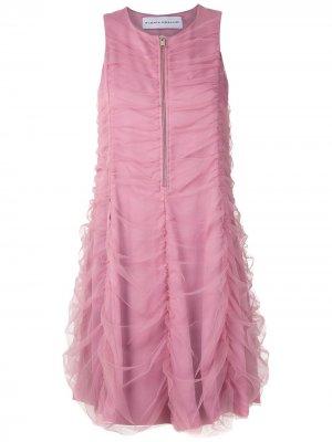 Платье из тюля с драпировкой Gloria Coelho. Цвет: розовый