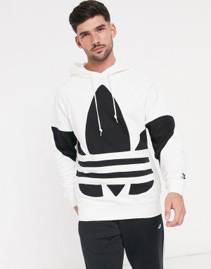 Худи белого цвета с большим логотипом-трилистником -Белый adidas Originals