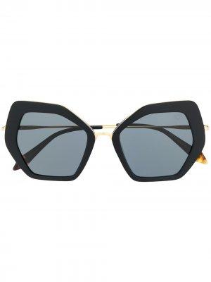 Солнцезащитные очки в геометричной оправе Spektre. Цвет: черный
