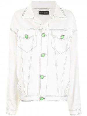Джинсовая куртка оверсайз с декоративной строчкой David Koma. Цвет: белый