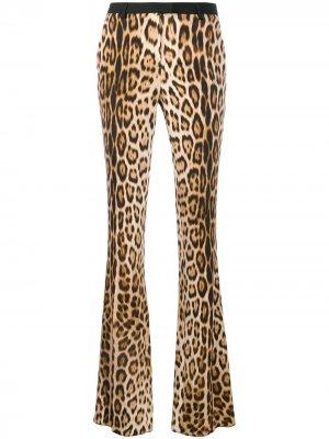 Расклешенные брюки с леопардовым принтом Roberto Cavalli. Цвет: коричневый