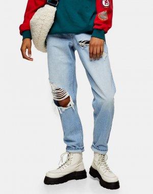 Голубые выбеленные суженные книзу джинсы в винтажном стиле со рваной отделкой -Голубой Topshop