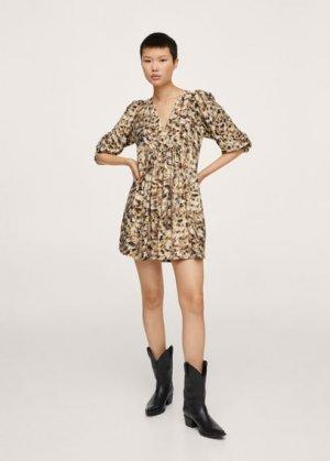 Короткое платье с принтом - Carnaby Mango. Цвет: коричневый