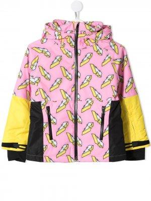 Лыжная куртка с принтом Stella McCartney Kids. Цвет: розовый