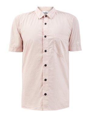 Окрашенная в готовом виде рубашка из легкого хлопка STONE ISLAND. Цвет: розовый